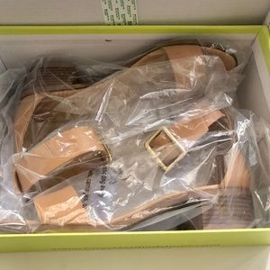 Cityclassified Shoes - Tan heeled sandals with gold buckles.